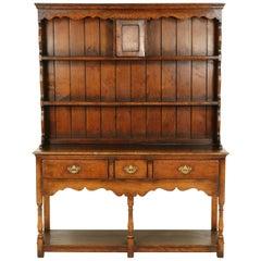 Vintage Golden Oak Welsh Potboard Dresser, Sideboard Buffet, Scotland 1940 B2394