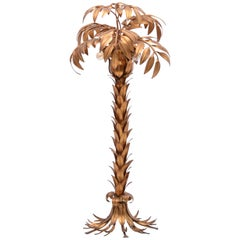 Golden Hollywood Regency palm tree floor lamp by Hans Kögl, circa 1970