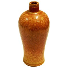 Vintage Goldenbrown Ceramic Vase 1950s by Gunnar Nylund, Rörstrand, Sweden