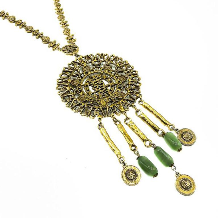 Vintage Goldette Chinese Medallion Necklace 1960s In Good Condition For Sale In Wilmslow, GB