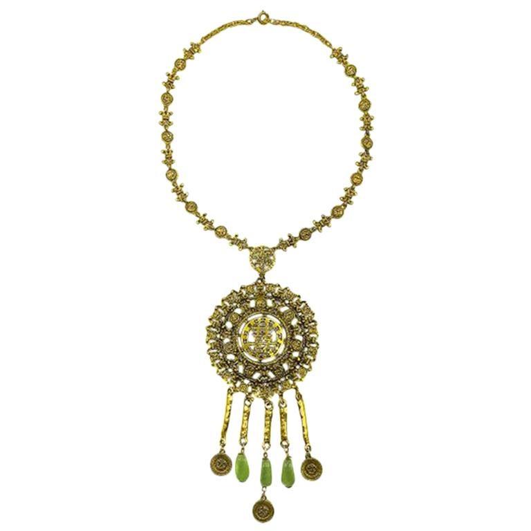 Vintage Goldette Chinese Medallion Necklace 1960s For Sale