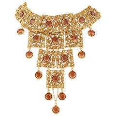 Vintage Goldette Etruscan Revival Bib Necklace with Topaz Crystals, 1970s