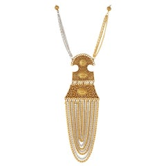 Vintage Goldette Etruscan Revival Chain Costume Statement Necklace, 1970s