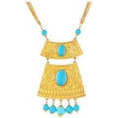 Vintage Goldette Gilt & Turquoise Etruscan Revival Statement Necklace, 1970s