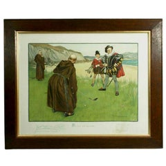 Vintage Golf Art, Humorous Golf Print, Putting for His Nose, Charles Crombie