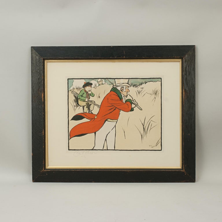 Signed golf print by Cecil Aldin An early 20th century Edwardian golf chromolithograph print by Cecil Aldin, from Old English Sporting Pictures. Following on the success of his Fallowfield Hunt series in 1899 and Bluemarket Races in 1901, Aldin