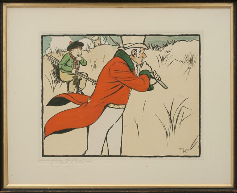 British Vintage Golf Print, Cecil Aldin, Old English Sports and Pastimes For Sale