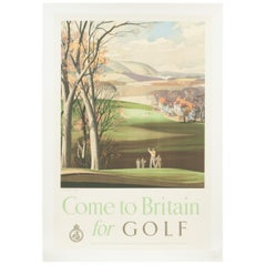 Vintage Golf Print, Come to Britain for Golf by Roland Hilder