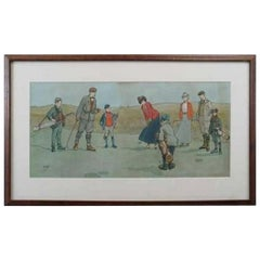 Vintage Golf Print, Lithograph by John Hassal, Putting Out