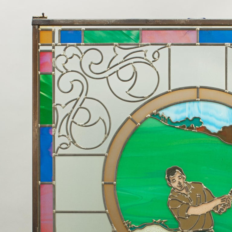 English Vintage Golf Stained Glass Window 1993 from the Mansfield Bar For Sale