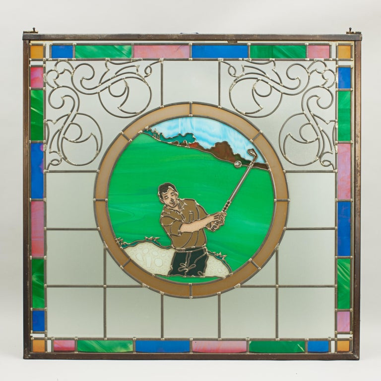 Late 20th Century Vintage Golf Stained Glass Window 1993 from the Mansfield Bar For Sale
