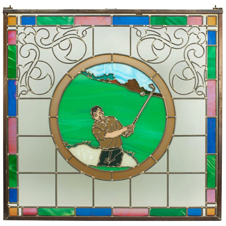 Vintage Golf Stained Glass Window 1993 from the Mansfield Bar For Sale