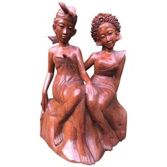 Vintage, Good Size & Stunning Hand-Carved Bali, Indonesia Wedding Couple Statue