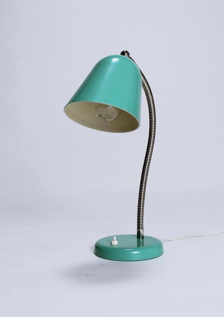 Swiss Vintage Goose Neck Green Desk Lamp, Switzerland, 1960s For Sale