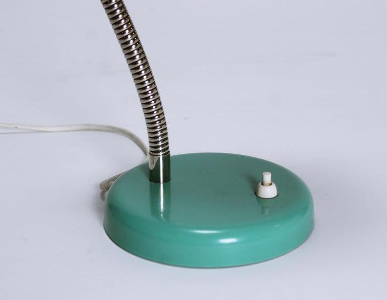 Vintage Goose Neck Green Desk Lamp, Switzerland, 1960s For Sale 1