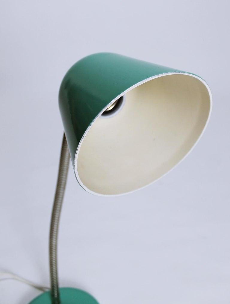Vintage Goose Neck Green Desk Lamp, Switzerland, 1960s For Sale 2