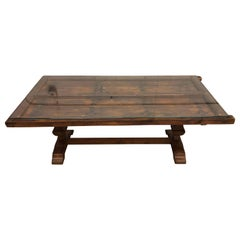 Vintage Gothic Recycled Door Dining Table with Glass Top