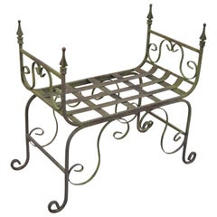 Gothic Wrought Iron Curule Scrollwork Distressed Green Bench with Finials