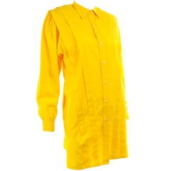 Vintage Gottex Yellow Cotton Pleated Blouse or Mini Dress Tunic