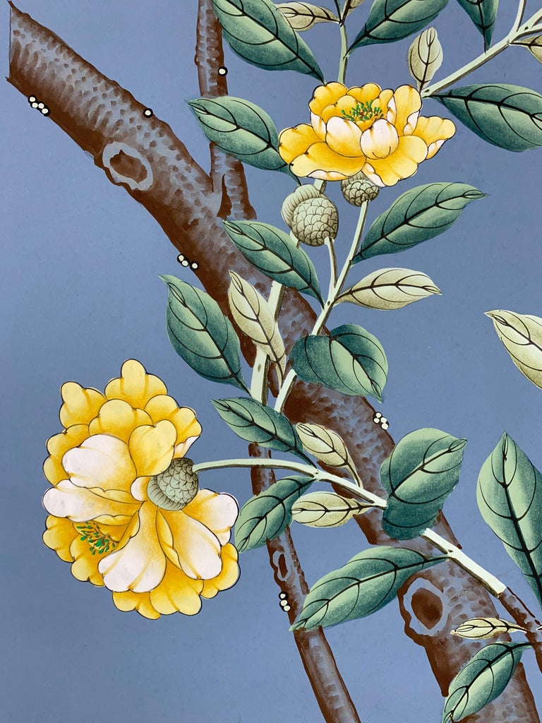 """Panel of vintage hand painted Gracie Studio, NY wallpaper. Gracie Studio exquisite hand painted chinoiserie motif, rendered in gouache on paper, with peonies, lilies, birds and butterflies, against a blue background. On simple hangers. Though 94"""""""