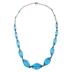 Vintage Graduated Crystal Chain Necklace, Mid 1900s, Aquamarine Blue Color