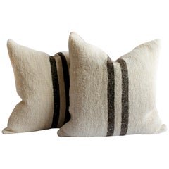 Vintage Grainsack and Linen Pillows with Dark Brown Stripes