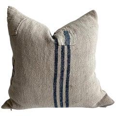 Vintage Grainsack Pillow with Indigo Stripe