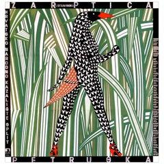 Vintage Graphic Poster Boris Bucan Pretuska Firebird Linen Backed Art Bird