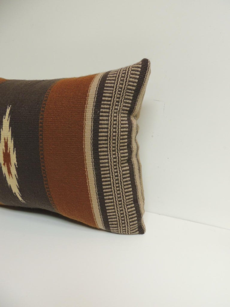 Vintage gray and brown southwestern style woven bolster pillow