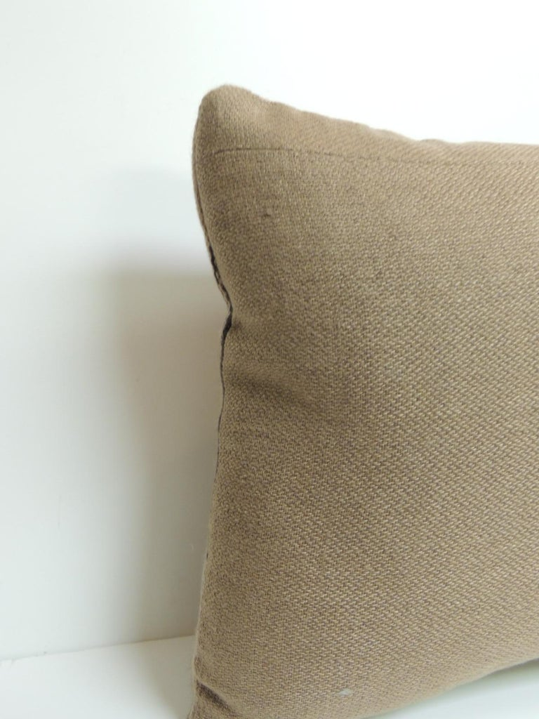 Mexican Vintage Gray and Brown Southwestern Style Woven Bolster Pillow For Sale
