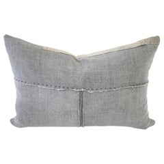 Vintage Gray Japanese Boro Textile Lumbar Accent Pillow