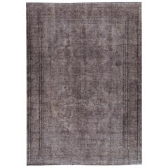 Vintage Gray Overdyed Handmade Wool Rug