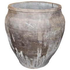 Vintage Gray Terracotta Large Pot