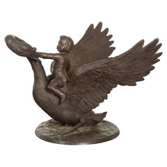 Vintage Greco Roman Style Bronze Sculpture of a Chubby Putto Riding a Swan
