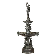 Vintage Greco-Roman Style Cast Bronze Fountain with Nymph, Tritons and Putti