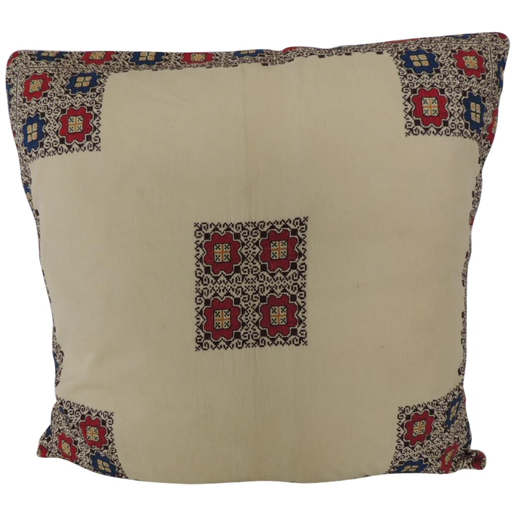 Vintage Greek Isle Embroidered Decorative Pillow