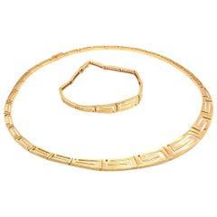 Vintage Greek Key Gold Necklace Bracelet Set