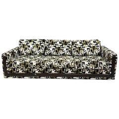 Vintage Greek Key Velvet Custom Sofa, Black, Gold, Green Modern Seating 1960s