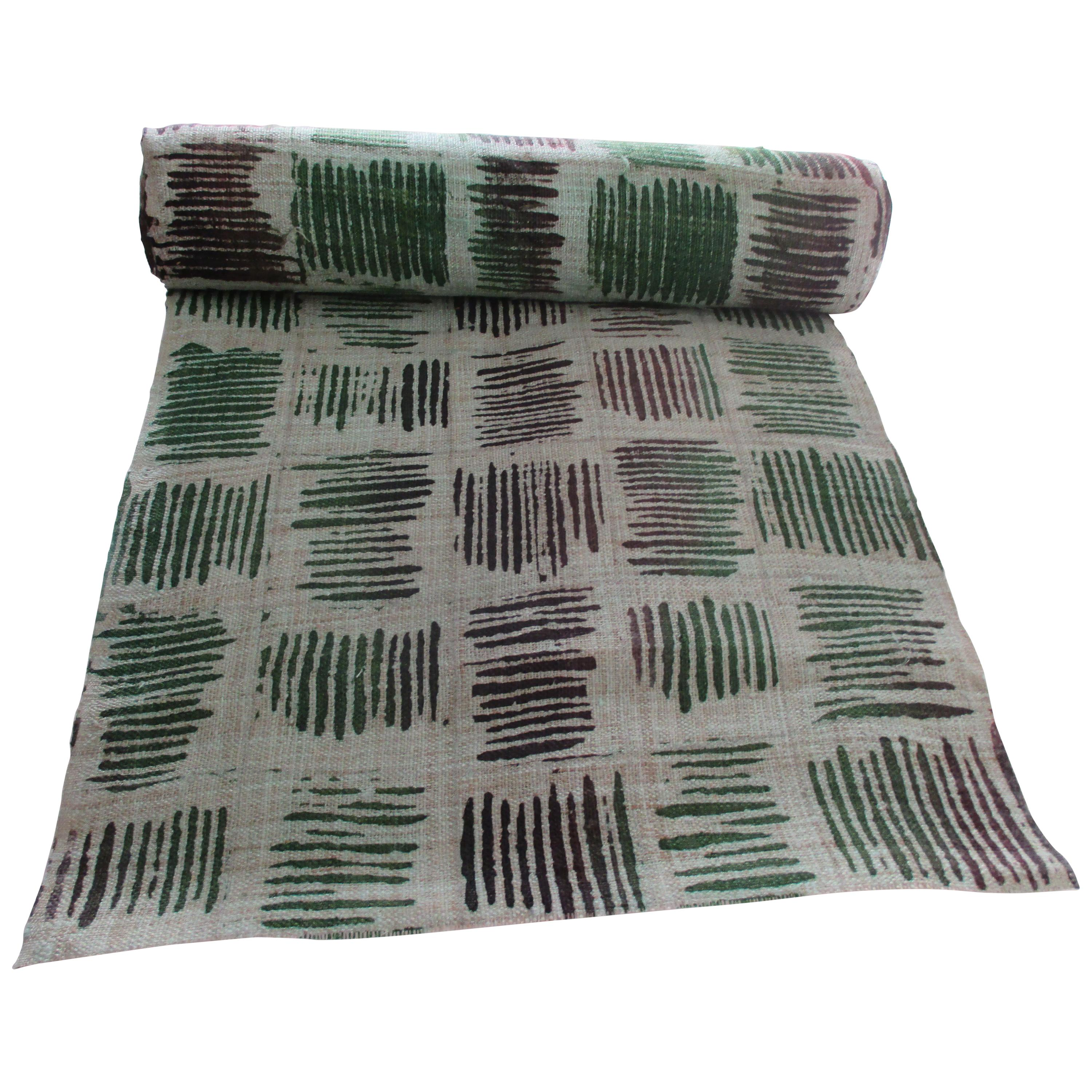 Vintage Green and Black Geometric Pattern Textile Roll