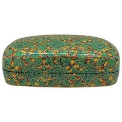 Vintage Green and Black Kashmir Papier Mâché Decorative Box