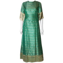 Vintage Green and Gold Indian Dress