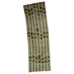 Vintage Green and Gold Yoruba Stripe Woven African Textile