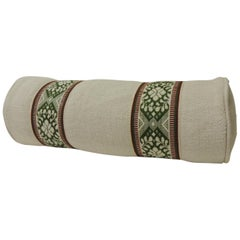 Vintage Green and Natural Woven Trim Decorative Round Roll Bolster Pillow