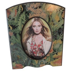Vintage Green and Orange Floral Decoupage Wood Picture Frame