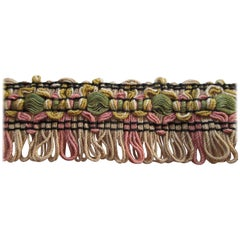 Vintage Green and Pink Gimp Decorative Trim with Fringes