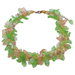 Vintage Green and Pink Glass Flowers Necklace  1940's