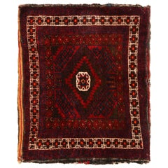 Vintage Green and Red Persian Wool Rug