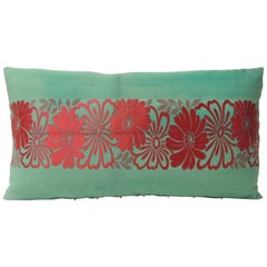 Vintage Green and Red Silk Woven Obi Decorative Pillow