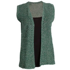 Vintage Green and Silver Crochet Gilet