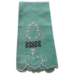 Vintage Green and White Embroidered Bathroom Guest Towel